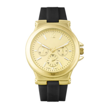 jcpenney.com | Womens Black Silicone Strap Boyfriend Watch