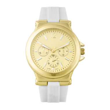 jcpenney.com | Womens White Silicone Strap Boyfriend Watch