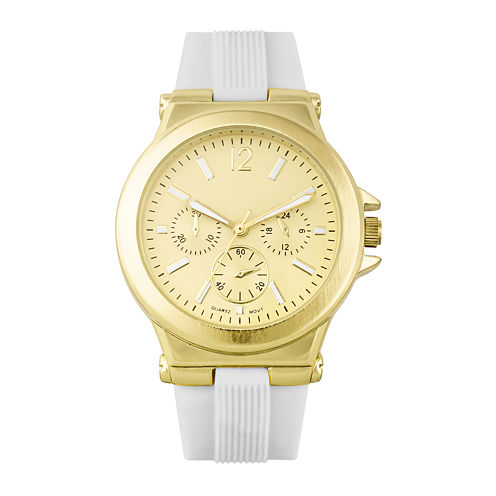 Womens White Silicone Strap Boyfriend Watch