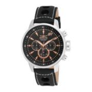 Invicta® Sl Rally Mens Black Leather Strap Chronograph Watch 16012
