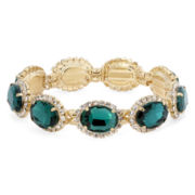 Vieste® Green Stone Stretch Oval Bracelet