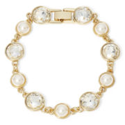 Monet® Simulated Pearl and Crystal Bracelet