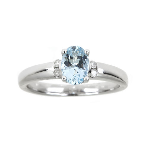 LIMITED QUANTITIES  Genuine Aquamarine and Diamond-Accent Ring