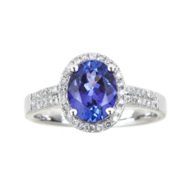jcpenney.com | LIMITED QUANTITIES  Oval Genuine Tanzanite and 1/4 CT. T.W. Diamond Ring