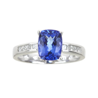 jcpenney.com | LIMITED QUANTITIES  Cushion-Cut Genuine Tanzanite and 1/5 CT. T.W. Diamond Ring