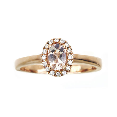 LIMITED QUANTITIES  Oval Genuine Morganite and 1/10 CT. T.W. Diamond Ring