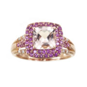 CLOSEOUT! Cushion-Cut Genuine Morganite and Pink Sapphire Ring