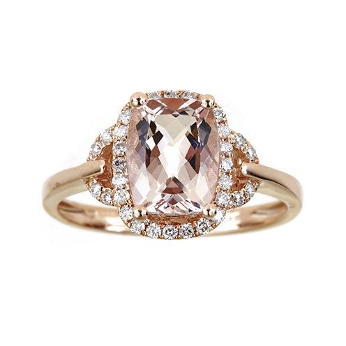 LIMITED QUANTITIES Cushion-Cut Genuine Morganite and 1/4 CT. T.W. Diamond Ring