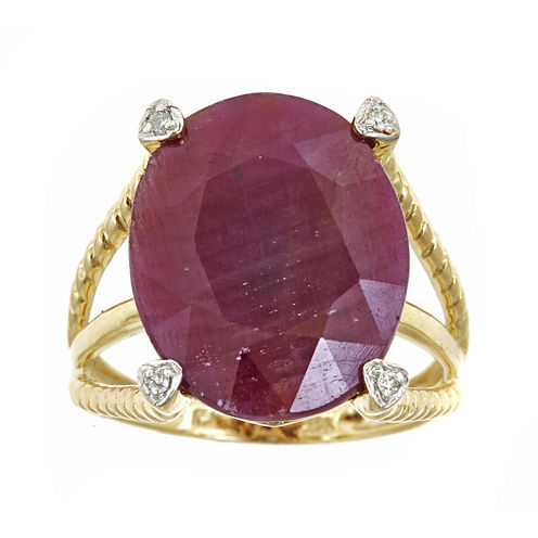 LIMITED QUANTITIES  Oval Lead Glass-Filled Ruby and Diamond-Accent Ring