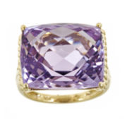 Cushion-Cut Genuine Pink Amethyst Ring