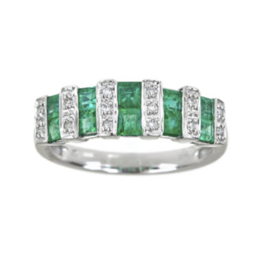 jcpenney.com | LIMITED QUANTITIES  Genuine Emerald and Diamond-Accent Double-Row Band
