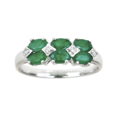 jcpenney.com | LIMITED QUANTITIES  Genuine Emerald and 1/8 CT. T.W. Diamond Band