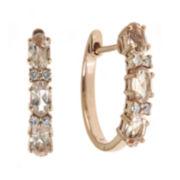 CLOSEOUT! Genuine Morganite and 1/10 CT. T.W. Diamond Hoop Earrings