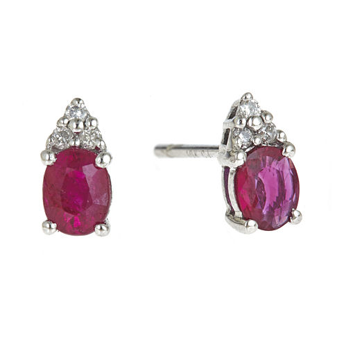 LIMITED QUANTITIES  Lead Glass-Filled Ruby and Diamond-Accent Earrings