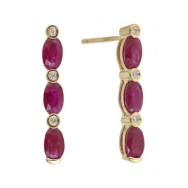 jcpenney.com | LIMITED QUANTITIES  Lead Glass-Filled Ruby and Diamond-Accent Linear Earrings
