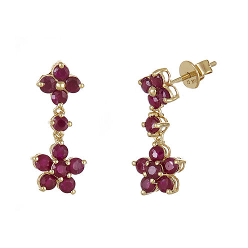 LIMITED QUANTITIES  Lead Glass-Filled Ruby Flower Drop Earrings