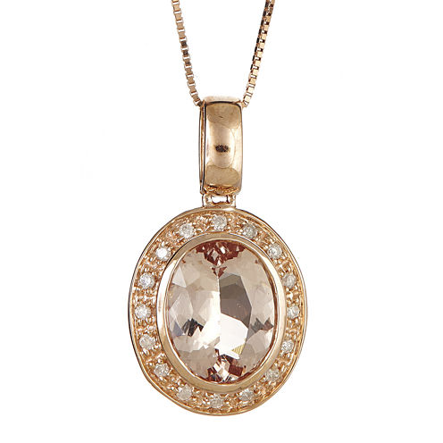 LIMITED QUANTITIES  Genuine Morganite and 1/10 CT. T.W. Diamond Pendant Necklace