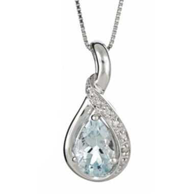jcpenney.com | LIMITED QUANTITIES  Genuine Aquamarine and Diamond-Accent Pendant Necklace
