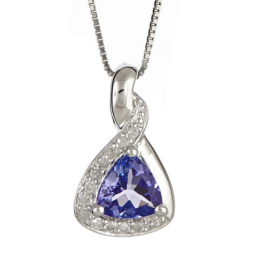 LIMITED QUANTITIES  Trillion-Cut Genuine Tanzanite and 1/10 CT. T.W. Diamond Pendant Necklace