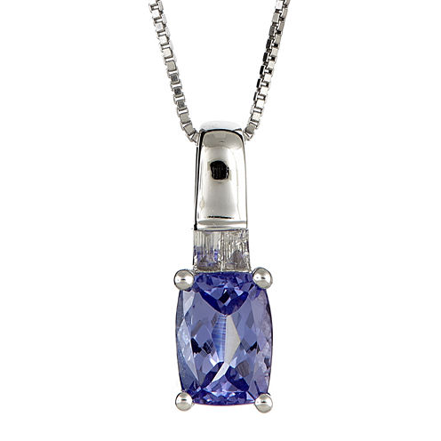 LIMITED QUANTITIES  Cushion-Cut Genuine Tanzanite and Diamond-Accent Pendant Necklace