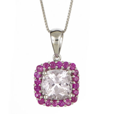 jcpenney.com | LIMITED QUANTITIES  Cushion-Cut Genuine Kunzite and Pink Sapphire Pendant Necklace