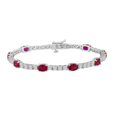 jcpenney.com | Oval Lab-Created Ruby and Cubic Zirconia Tennis Bracelet