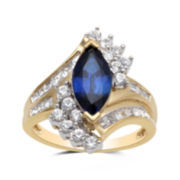 Marquise-Cut Lab-Created Blue and White Sapphire Ring