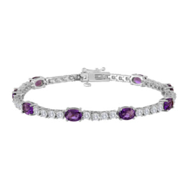 jcpenney.com | Oval Lab-Created Amethyst and Cubic Zirconia Tennis Bracelet