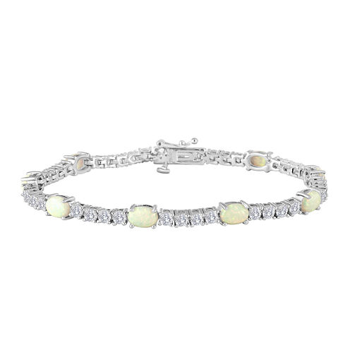 Oval Lab-Created Opal and Cubic Zirconia Tennis Bracelet