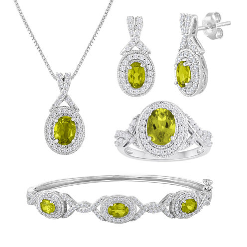4-pc. Genuine Peridot and Cubic Zirconia Jewelry Set