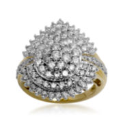 3 CT. T.W. Certified Diamond 14K Yellow Gold Pear-Shaped Cluster Ring