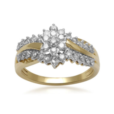jcpenney.com | 3/4 CT. T.W. Certified Diamond 14K Yellow Gold Cluster Ring