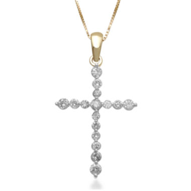 jcpenney.com | 1/2 CT. T.W. Certified Diamond 14K Yellow Gold Cross Pendant Necklace
