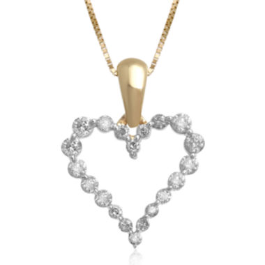 jcpenney.com | 1/4 CT. T.W. Certified Diamond 14K Yellow Gold Heart Pendant Necklace