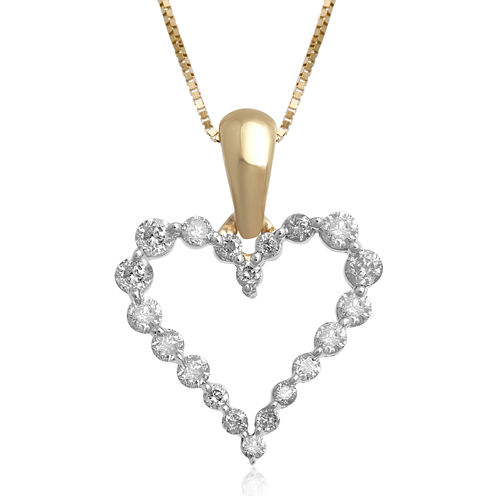 1/4 CT. T.W. Certified Diamond 14K Yellow Gold Heart Pendant Necklace