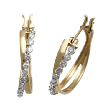 jcpenney.com | 1/2 CT. T.W. Certified Diamond 14K Yellow Gold Crossover Hoop Earrings