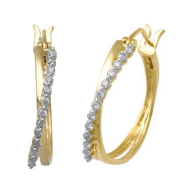 jcpenney.com | 1/4 CT. T.W. Certified Diamond 14K Yellow Gold Crossover Hoop Earrings