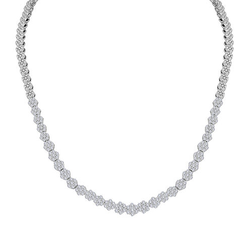 diamond blossom 4 CT. T.W. Diamond Cluster Sterling Silver Tennis Necklace