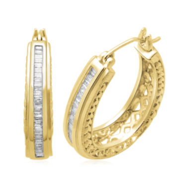 jcpenney.com | 1/2 CT. T.W. Diamond 14K Yellow Gold Over Sterling Silver 26.3mm Hoop Earrings