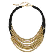 KJL by KENNETH JAY LANE 8-Row Black Leather Gold-Tone Necklace