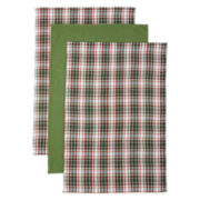 Green Holiday Set of 3 Kitchen Towels