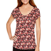 Liz Claiborne® Short-Sleeve Back-Shirred Print T-Shirt