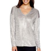 Liz Claiborne® Long-Sleeve Drop-Shoulder V-Neck T-Shirt - Tall
