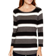 Liz Claiborne® 3/4-Sleeve Striped Boatneck T-Shirt