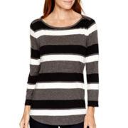Liz Claiborne® 3/4-Sleeve Striped Boatneck T-Shirt