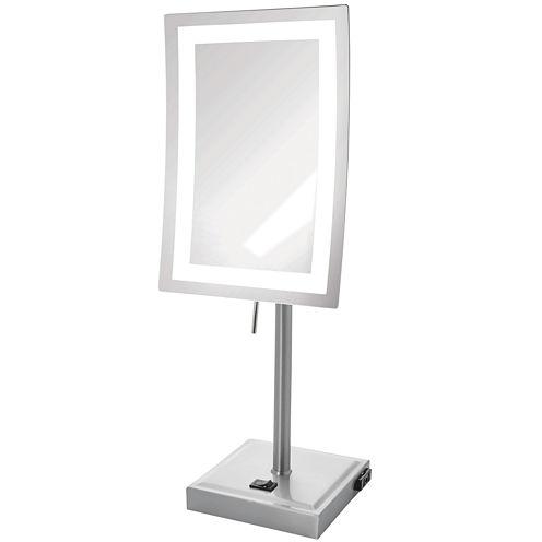 Jerdon Style LED-Lighted Rectangular Tabletop Mirror