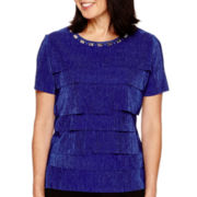 Alfred Dunner® Keep It Modern Short-Sleeve Tiered Accordion Top