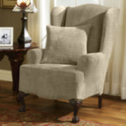 SURE FIT® Royal Diamond Stretch Wing Chair Slipcover