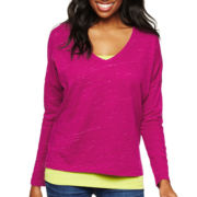 jcp™ Long Sleeve V-Neck Tee -Talls