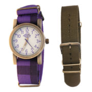 Dickies® Gold-Tone Purple & Brown Nylon Strap Watch